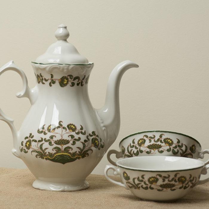 Juego cafe desayuno porcelana antigua vintage Pontesa